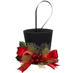 raz holly top hat christmas ornament redgreenblack made of paper measures 3 - Top Hat Christmas Decorations