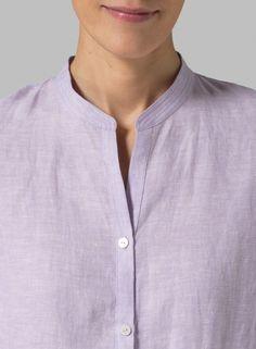 MISSY Clothing - Linen Mandarin Collar Simple Long Blouse