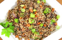 C – Quinoa is my favorite non-meat protein. It's a complete protein containing nine amino acids, fiber, iron, lysine, magnesium and riboflavin. Healthy Eating Recipes, Nutritious Meals, Healthy Foods, Cooking Recipes, Asparagus And Mushrooms, Stuffed Mushrooms, Vegan Gluten Free, Vegan Vegetarian, Mushroom Quinoa