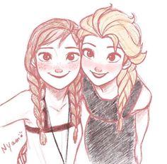 Anna and Elsa Arte Disney, Disney Fan Art, Disney Love, Disney Films, Disney And Dreamworks, Disney Pixar, Disney Sketches, Disney Drawings, Anna Y Elsa