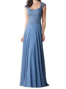 chiffon blue cap sleeve scoop neck embroidered floor length a line mother dress