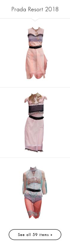 """""""Prada Resort 2018"""" by sella103 ❤ liked on Polyvore featuring tops, blouses, silk blouse, pink top, pink silk top, pink blouse, silk top, sweaters, white and prada top"""