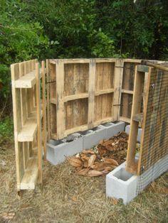 compost bin - pallets and a few cinder blocks