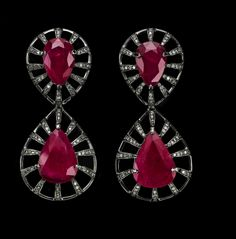 Czar Drop Earrings in 18K White Gold with Black Rhodium, Rubies and Diamonds