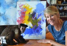 Meet Stephany and her monkey helper Tracey - celebrating one year together (and showcasing one of their paintings!) www.monkeyhelpers.org Helping Hands, Monkeys, Meet, Paintings, Animals, Rompers, Animales, Paint, Animaux