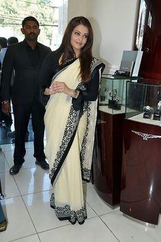 #AishwaryaRai Cream Chiffon #Saree