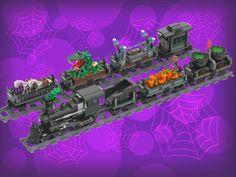 LEGO Halloween Village Train | The Winter Village has its tr… | Flickr Lego Halloween, Halloween Village, Lightning Rod, A Pumpkin, Train, Winter, Winter Time, Halloween Town, Strollers
