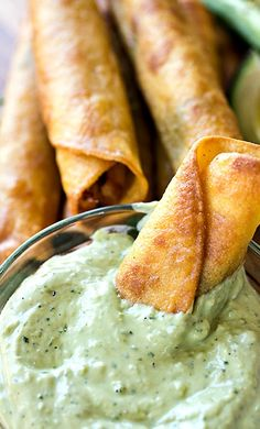 Zesty Chili-Lime Chicken Taquitos with Jack Cheese and Roasted Corn, with Cool Avocado Jalapeno Ranch Dipping Sauce Recipe