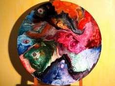 Round Two, Colorful Abstract Painting Resin Art Fluid Acrylic Metalic Beautiful by pinstriperPL on Etsy