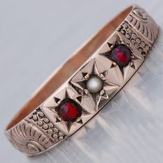 victorian rose gold garnet ring