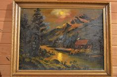 Indiana Artist 1949 Oil/CV Cabin in the Woods Moonlight River Mrs.Maggie Kayley…