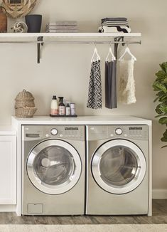 Need some smart wall storage ideas? Stay practical with a new Premium Wood Shelf kit in the laundry room. #HomeDepot #LaundryRoom #LaundryStorage #LaundryRoomOrganization