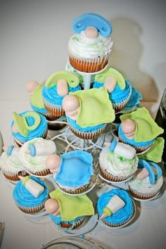 babyshower cupcakes  www.nowthenforever.com