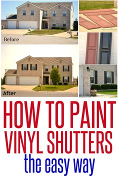 How to Paint Vinyl Shutters ~ Shutters on windows are kind of like mascara on your eyelashes – it just looks better! Here& the simplest way to update them with SPRAY PAINT! Paint Vinyl Shutters, Painting Shutters, Vinyl Siding, House Painting, Painting Tips, Exterior Vinyl Shutters, Painting Doors, Diy Spring, Landscape Arquitecture