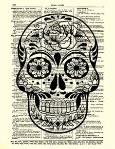 Sugar Skull Art, Rose Sugar Skull, Dictionary Art Print, Wall Decor, Wall Art, Day of the Dead, Mexican Calavera