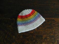 6300bb2719c Rainbow Stripe Baby Crochet Beanie Hat - Hand Made Baby Hat - Crochet  Newborn Baby Hats - Baby Shower Gift - Vegan Wool Baby Hats