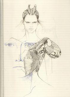 Sketched from Alexander McQueen Summer 2010