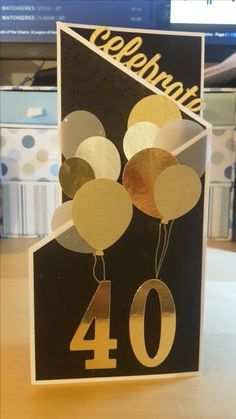 Neil's 40th Birthday card - z fold card using Stampin Up Balloon punch and Number dies and stamps and MFT die for the 'Celebrate'