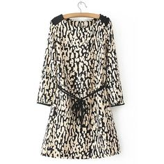 Stylish Round Collar Leopard Lace-Up 3/4 Sleeve Dress For Women, AS THE PICTURE, S in Dresses 2015 | DressLily.com
