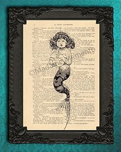 Mermaid seashell art print, antique nautical illustration on original book page, black and white sea shell home decor. Each illustration is printed on a beautiful antique book page from a French magazine called La Petite Illustration from around 1910. Please keep in mind that you will not get the exact same page as shown in the image, but you will get a similar antique book page from the same magazine. Each print is unique. You definitely have something to talk about with your friends!...