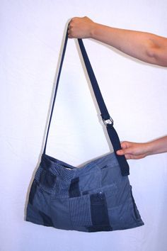 Handmade Shoulder Bag with Pockets Dark Blue by TheReitsmaStore