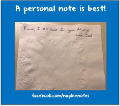 Napkin Note: A personal note is best! Keep being awesome!  Pack. Write. Connect.