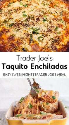 This Taquito Enchilada Casserole is an easy weeknight dinner recipe featuring Trader Joe's items! This versatile recipe can be made how you like it! Use taquitos with chicken, beef, or vegetarian! This enchiladas recipe is so easy and SO delicious! A perfect weeknight dinner idea!  #enchiladasrecipe #taquitos #taquitoschicken #taquitosrecipe #enchiladacasserole #taquitoenchiladacasserole #traderjoesrecipes