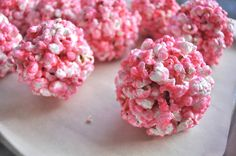 pink popcorn balls   fancyfoodfancy
