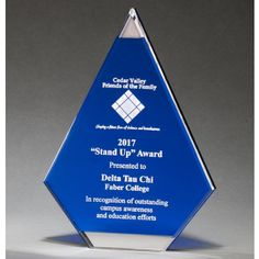 "Our Blue Acrylic Flame Trophy has mirror accents at the top & bottom, with a blue area for engraving personalization. A7087 is 8"", A7088 is 9"" & A7089 is 10"" in size, all include free engraving!"
