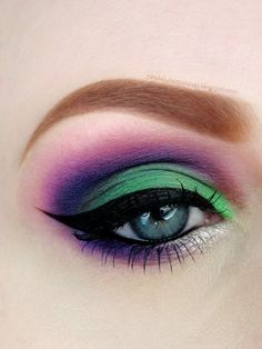 Green and purple eyeshadow #vibrant #smokey #bold #eye #makeup #eyes