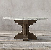 17th C. French Bastide Oak & Marble Round Dining Table