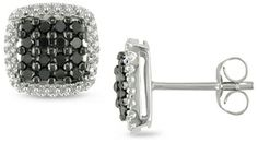 Diamore 1⁄2 ct. Black Diamond Earrings, 10k White Gold