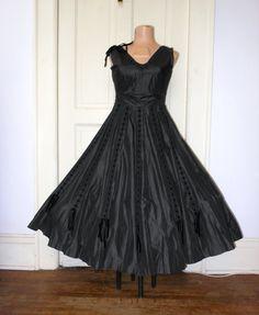 SALE Prom Party Dress Vintage 50s Bombshell Black by CorkSpork