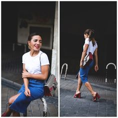 White t-shirt+denim skirt+red mules+Gucci Dionysus red and taupe shoulder bag. Summer Outfit 2016. Camiseta blanca+flada midi vaquera+zuecos rojos+bolso rojo y taupe Dionysus, de Gucci. Outfit Verano 2016