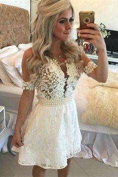 White Homecoming Dress,Lace Homecoming Gown,Tulle Homecoming Gowns,Ball Gown Party Dress,Short Prom Dresses,YY333
