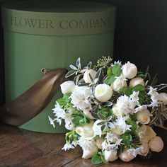 The Real Flower Company Luxury Narcissi, Hyacinth & Ivory Rose Hat Box Wedding Dresses With Flowers, Wedding Table Flowers, Wedding Flower Arrangements, Flower Bouquet Wedding, Flower Girl Basket, Flower Boxes, Flower Girls, Friendship Flowers, Floating Candle Centerpieces