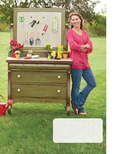 Love the idea of repurposing old furniture for a potting bench--it's going to get dirty outside anyway, why buy new??