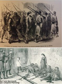 Après l'accès de l'armée de Versailles à Paris, Les femmes de la commune étaient cruellement persécutées par la loi et l'opinion public. Certains auteur ont accusé les femmes comabattantes d'être victimes des maladies mentales parce que leur nature les interdit de prendre des rôles masculins. Les deux image dépeint la traitment des communardes après leur arrestation