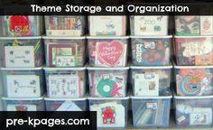Theme storage tubs for teacher organization via www.pre-kpages.com