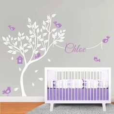 Elegant Huge Tree and Birds Wall Decal. Great design ideas to decorate your baby boy and girl room. This DIY project bring the modern touch to your bedroom and nursery. Kids will surely love it!