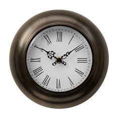 Wall Clock, Bronze Effect Metal