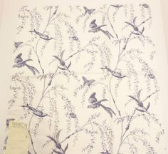 """Thibaut Parrot Toile Cream Fabric Sample 26"""" x 26"""" 100% Combed Cotton Sateen + FREE SAMPLES!!! on Etsy, $9.99"""