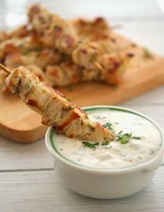 Chicken Souvlaki Kebabs with Tzatziki Sauce