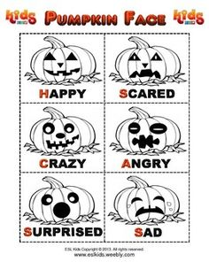 Here is a simple cut and color with pumpkin faces. These are good for Kindergarten kids and can be used to decorate the classroom or review vocabulary. Enjoy ^_^%0A___________________________________%0A%0AWe hope you enjoyed this activity. If you like it, follow us here on TPT and check us out on Facebook and Pinterest. %0A%0Ahttps://www.facebook.com/eslkids1%0Ahttp://www.pinterest.com/eslkidz/%0A%0AWe offer many free and low cost materials that can be used in class or supplement your…