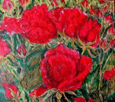 GALERIA PALOMO MARIA LUISA: ROSAS ROJAS Painting, Red Roses, Painted Flowers, Painting Art, Paintings, Painted Canvas, Drawings
