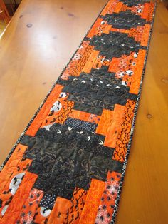 Halloween Quilted Table Runner Handmade Orange and Black Table Decor patchworkmountain.com