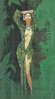 Robert McGinnis (born is an American artist and illustrator. McGinnis is known for his illustrations of over 1200 paperback book covers, and over 40 movie posters, including Breakfast at Tiffanys, Barbarella, and several James Bond's. Robert Mcginnis, Pulp Fiction Art, Pulp Art, Comics Vintage, Vintage Art, Gravure Illustration, Illustration Art, Cover Art, Art Magique