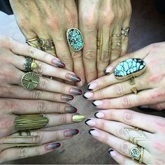 Luxury handmade earrings, rings, necklaces, bracelets, and bridal from designer Melissa Joy Manning. Nail Photos, Long Nails, Earrings Handmade, Bling, Nail Art, Joy, Turquoise, Instagram Posts, Collection