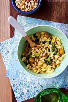 Orzo Pasta with Roasted Broccoli & Chickpeas | Vegan Recipe on FamilyFreshCooking.com