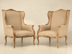 Louis XV Style Wing Back Chair w/Linen Upholstery